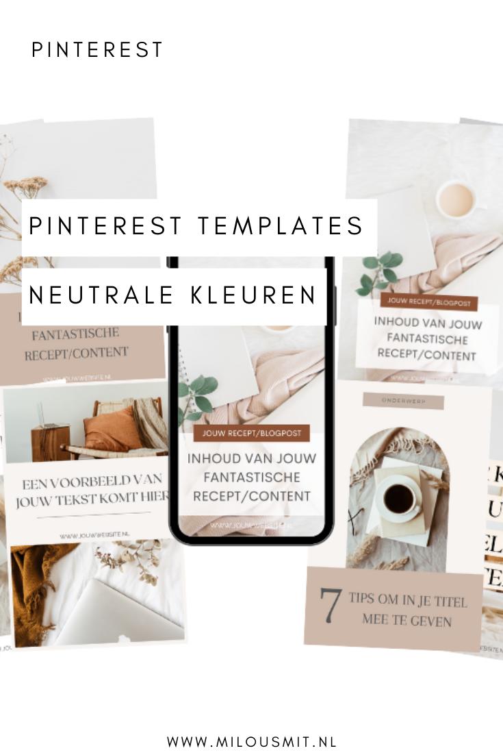 Pinterest templates voor meer converterende bezoekers op jouw website! Pinterest templates neutrale kleuren | Pinterest templates Canva | Pinterest templates design | Pinterest voor beginners | Pinterest templates beige | pinterest template edit | Pinterest templates png